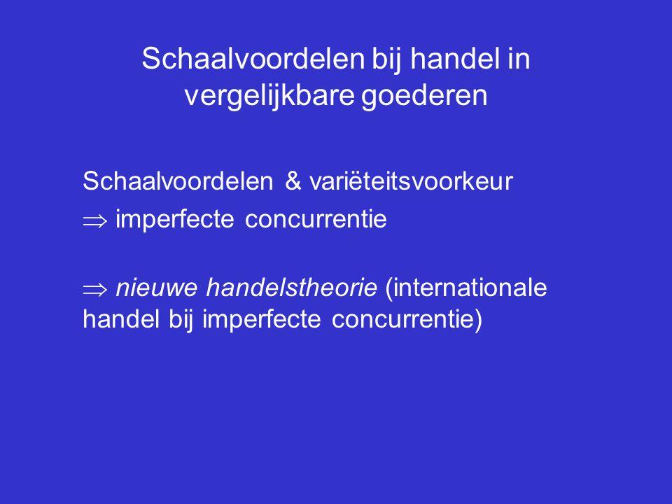 Schaalvoordelen bij handel in vergelijkbare goederen Schaalvoordelen & variëteitsvoorkeur  imperfecte concurrentie  nieuwe handelstheorie (internati