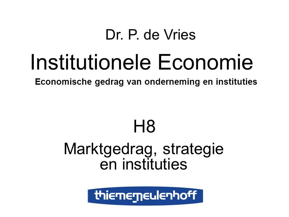H8 Marktgedrag, strategie en instituties Institutionele Economie Economische gedrag van onderneming en instituties Dr. P. de Vries
