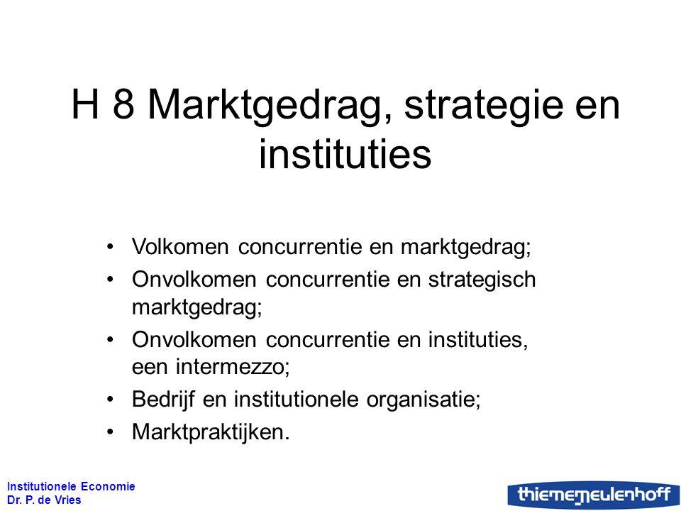 Institutionele Economie Dr. P. de Vries H 8 Marktgedrag, strategie en instituties Volkomen concurrentie en marktgedrag; Onvolkomen concurrentie en str