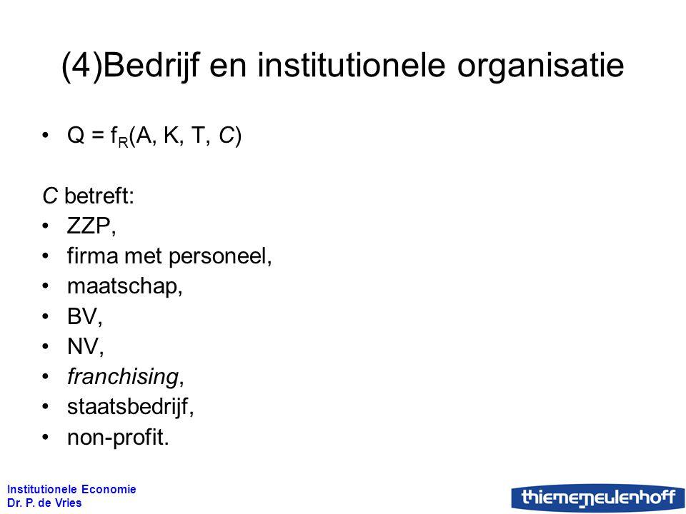Institutionele Economie Dr. P. de Vries (4)Bedrijf en institutionele organisatie Q = f R (A, K, T, C) C betreft: ZZP, firma met personeel, maatschap,