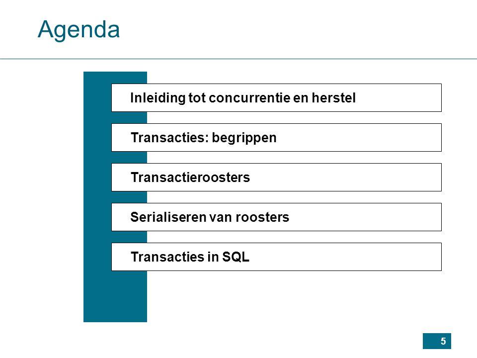6 Agenda Inleiding tot concurrentie en herstel Transacties: begrippen Transactieroosters Serialiseren van roosters Transacties in SQL