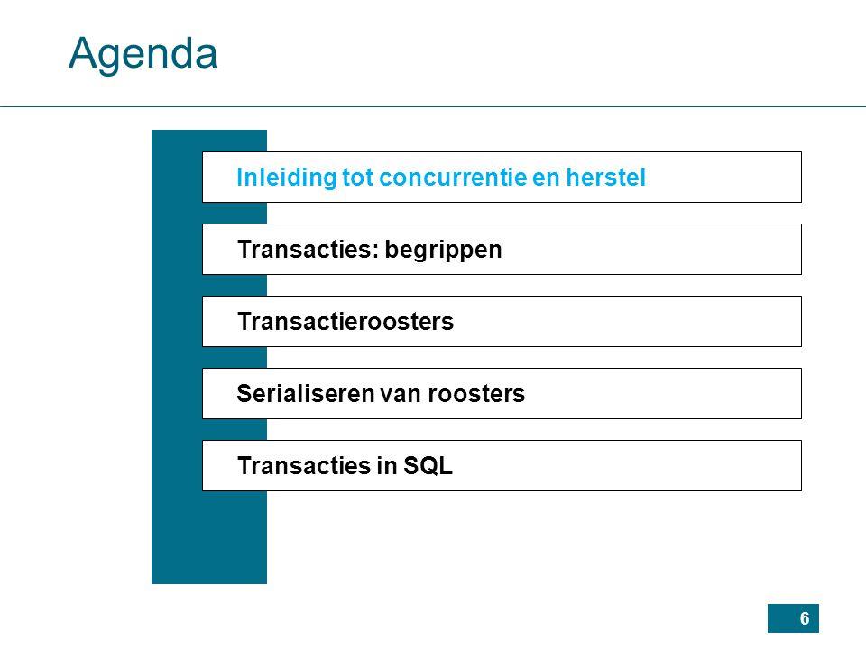 37 Agenda Inleiding tot concurrentie en herstel Transacties: begrippen Transactieroosters Serialiseren van roosters Transacties in SQL