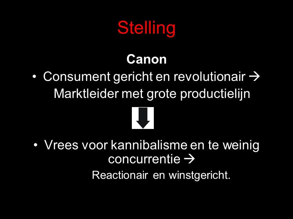 Stelling Canon Consument gericht en revolutionair  Marktleider met grote productielijn Vrees voor kannibalisme en te weinig concurrentie  Reactionair en winstgericht.