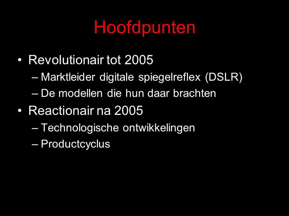 Hoofdpunten Revolutionair tot 2005 –Marktleider digitale spiegelreflex (DSLR) –De modellen die hun daar brachten Reactionair na 2005 –Technologische ontwikkelingen –Productcyclus