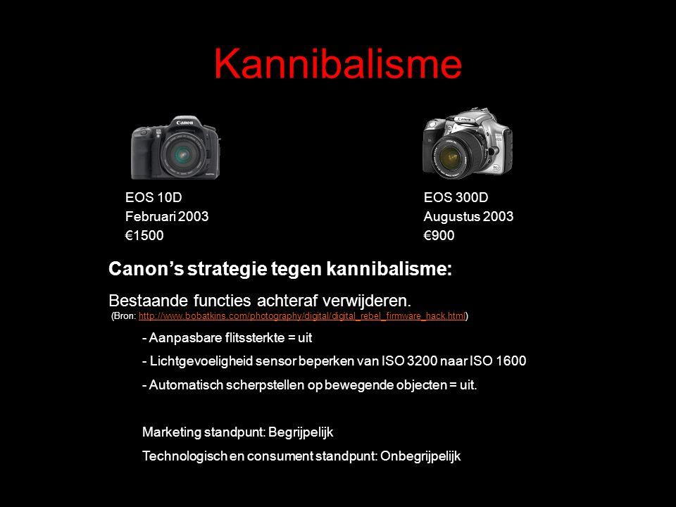 Kannibalisme EOS 10D Februari 2003 €1500 EOS 300D Augustus 2003 €900 Canon's strategie tegen kannibalisme: Bestaande functies achteraf verwijderen. (B