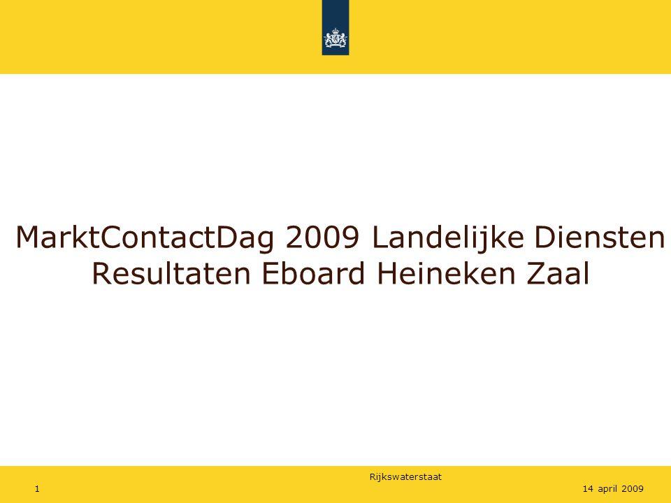Rijkswaterstaat 114 april 2009 MarktContactDag 2009 Landelijke Diensten Resultaten Eboard Heineken Zaal