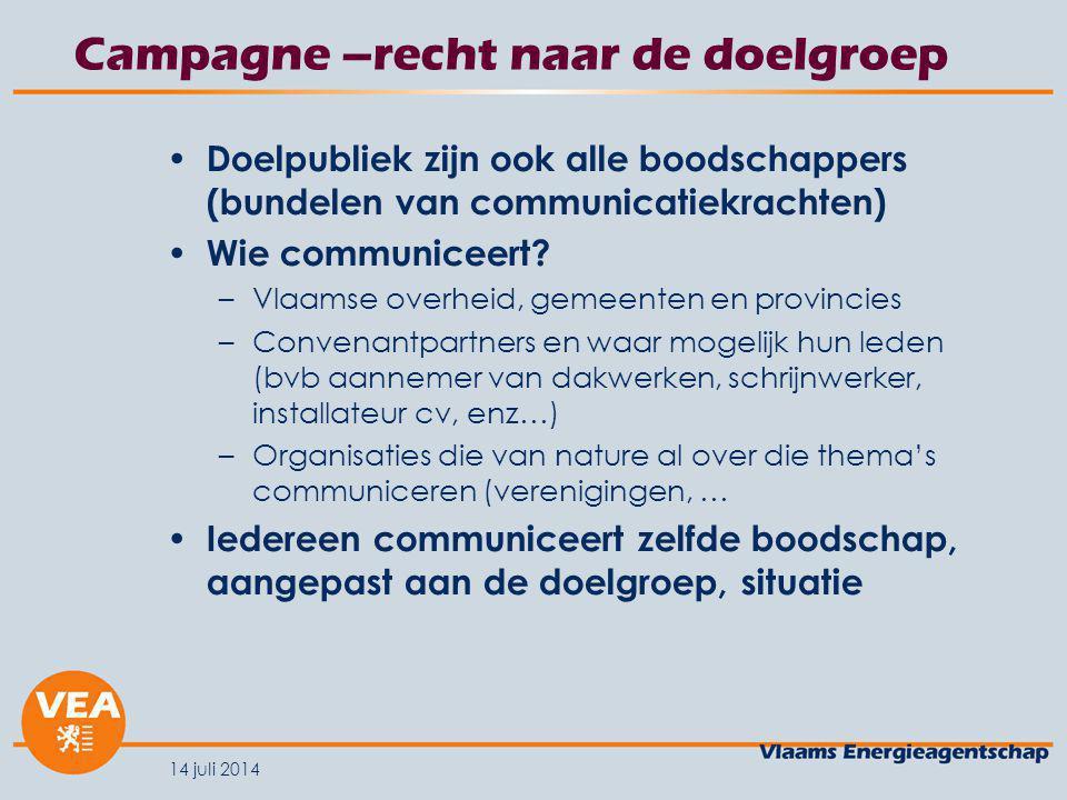 14 juli 2014 Campagne –recht naar de doelgroep Doelpubliek zijn ook alle boodschappers (bundelen van communicatiekrachten) Wie communiceert.