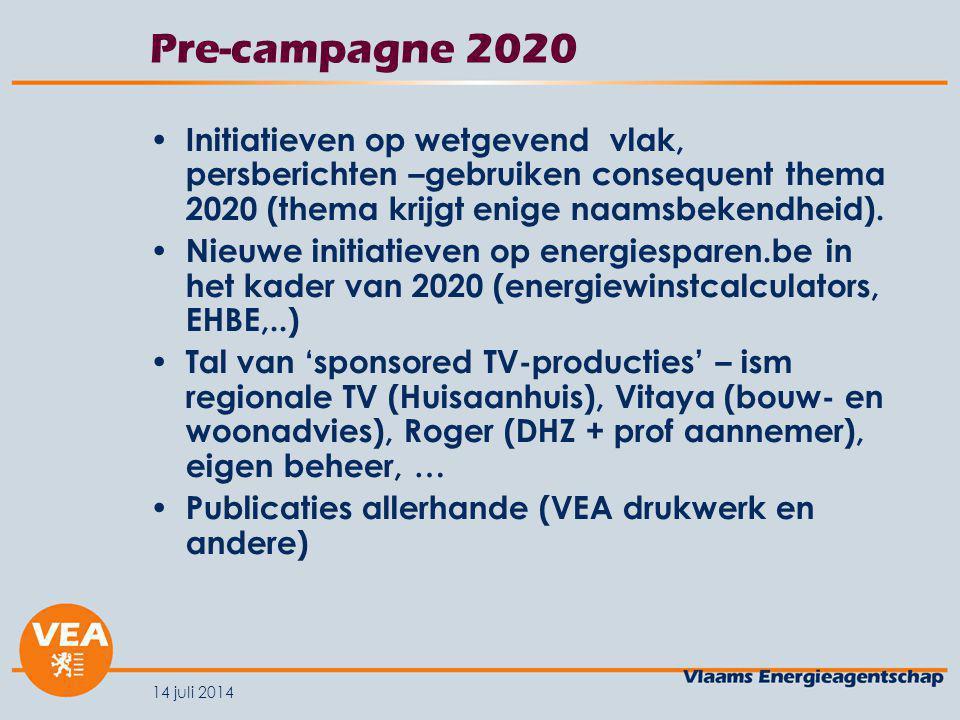 14 juli 2014 Pre-campagne 2020 Initiatieven op wetgevend vlak, persberichten –gebruiken consequent thema 2020 (thema krijgt enige naamsbekendheid).