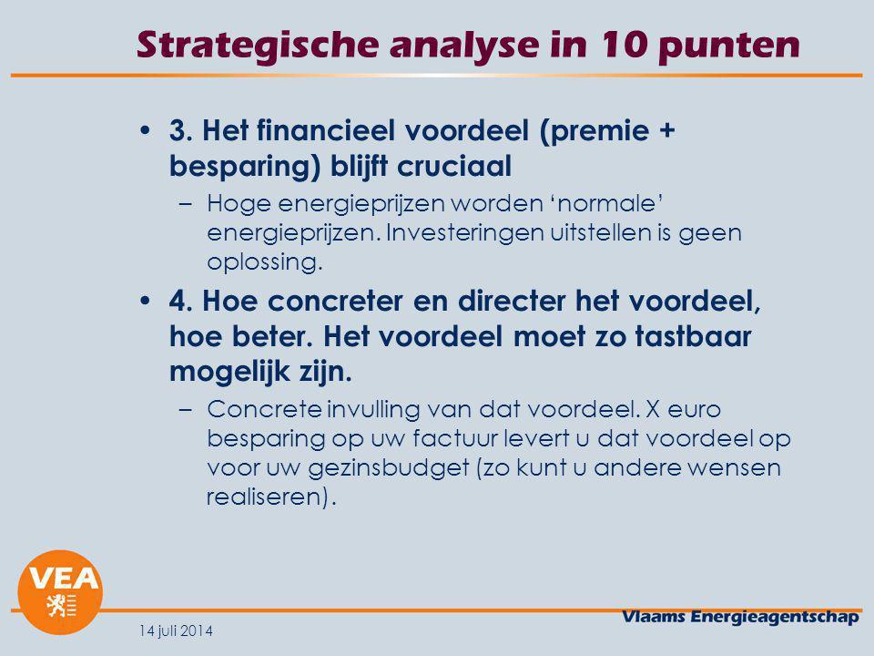 14 juli 2014 Geplande communicatie 2020 Grootschalige multi-mediacampagne in oktober 2008 – Maand van de Energiebesparing (focus op dakisolatie).