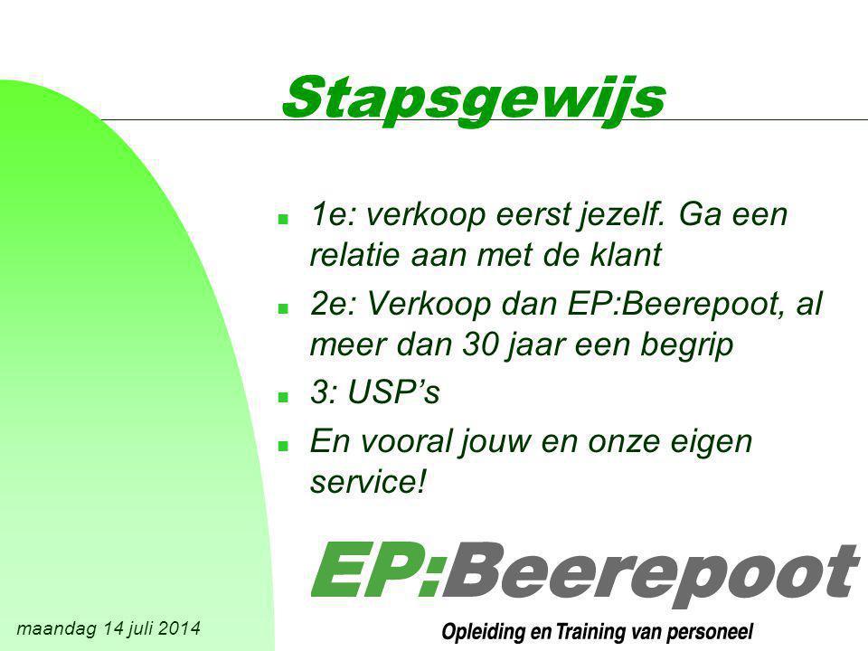 maandag 14 juli 2014 Stapsgewijs n 1e: verkoop eerst jezelf.