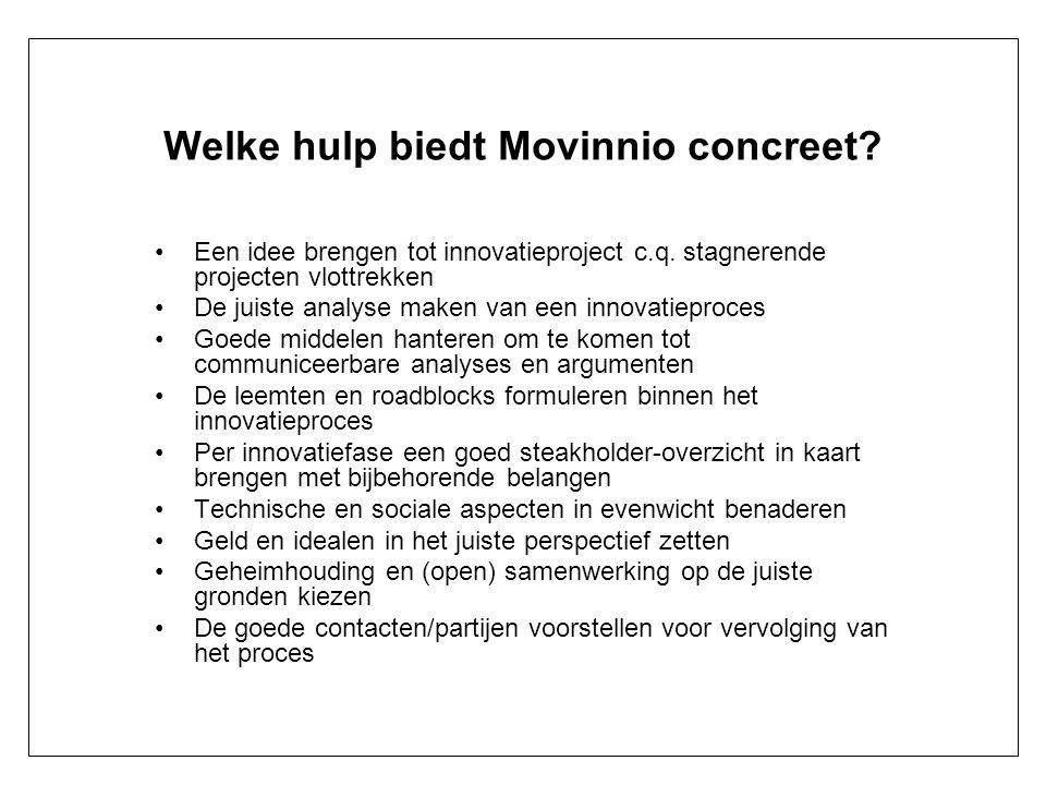 Welke hulp biedt Movinnio concreet? Een idee brengen tot innovatieproject c.q. stagnerende projecten vlottrekken De juiste analyse maken van een innov