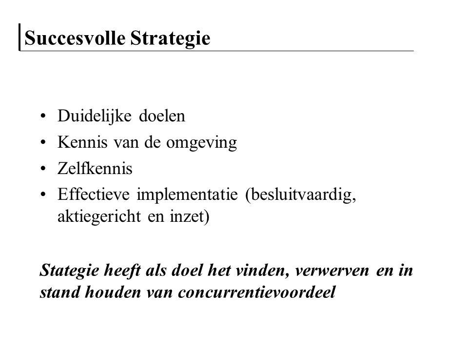 Strategie selectie Selecteer een strategie die het best aansluiting biedt tussen capaciteiten en externe kansen Selecteer een strategie die de meeste kansen benut Selecteer een strategie die aansluit op de kritische succesfactoren Selecteer een strategie die past binnen de visie