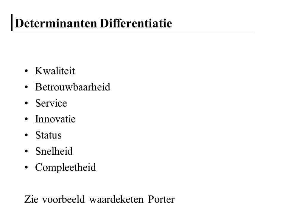 Determinanten Differentiatie Kwaliteit Betrouwbaarheid Service Innovatie Status Snelheid Compleetheid Zie voorbeeld waardeketen Porter