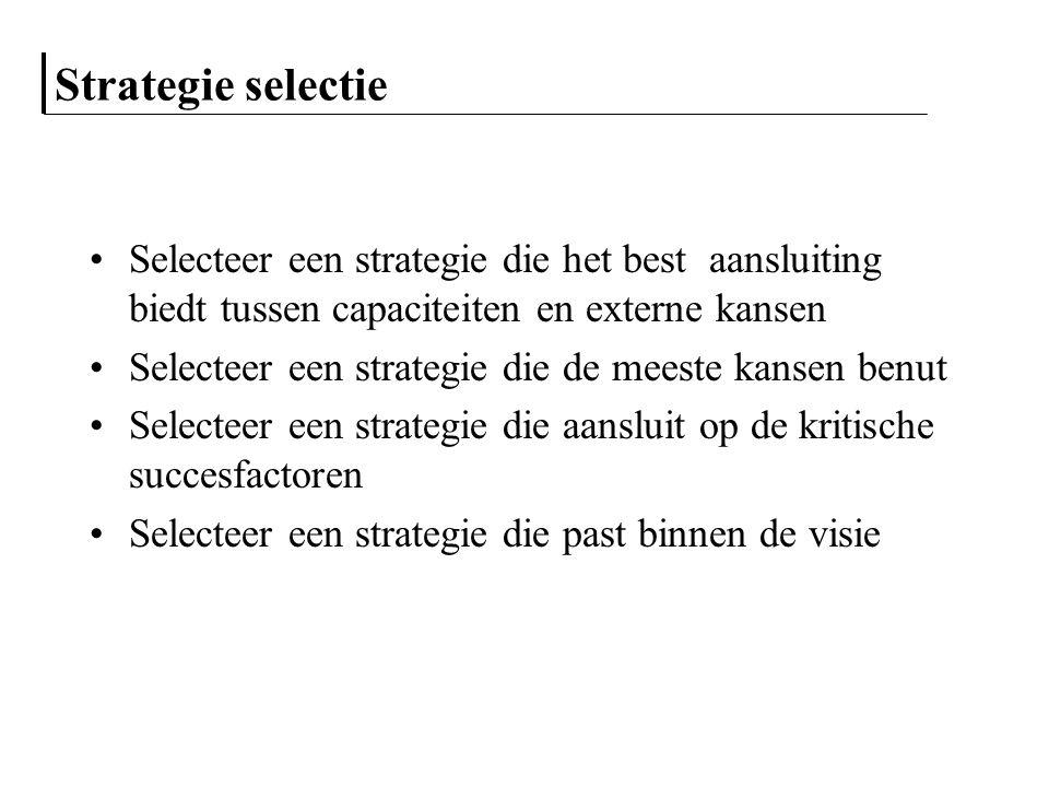 Strategie selectie Selecteer een strategie die het best aansluiting biedt tussen capaciteiten en externe kansen Selecteer een strategie die de meeste