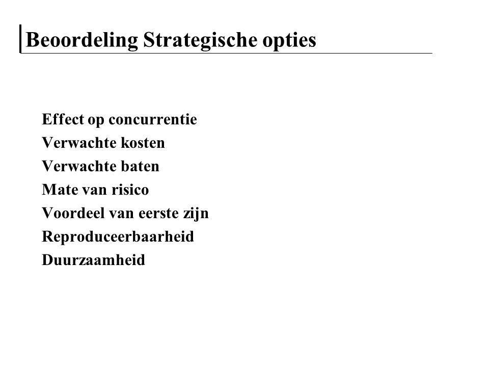 Beoordeling Strategische opties Effect op concurrentie Verwachte kosten Verwachte baten Mate van risico Voordeel van eerste zijn Reproduceerbaarheid D