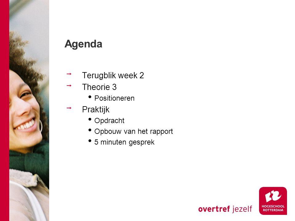 Agenda Terugblik week 2 Theorie 3 Positioneren Praktijk Opdracht Opbouw van het rapport 5 minuten gesprek