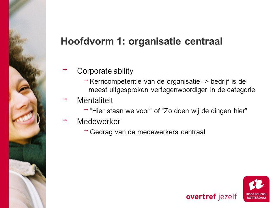 Hoofdvorm 1: organisatie centraal Corporate ability Kerncompetentie van de organisatie -> bedrijf is de meest uitgesproken vertegenwoordiger in de cat