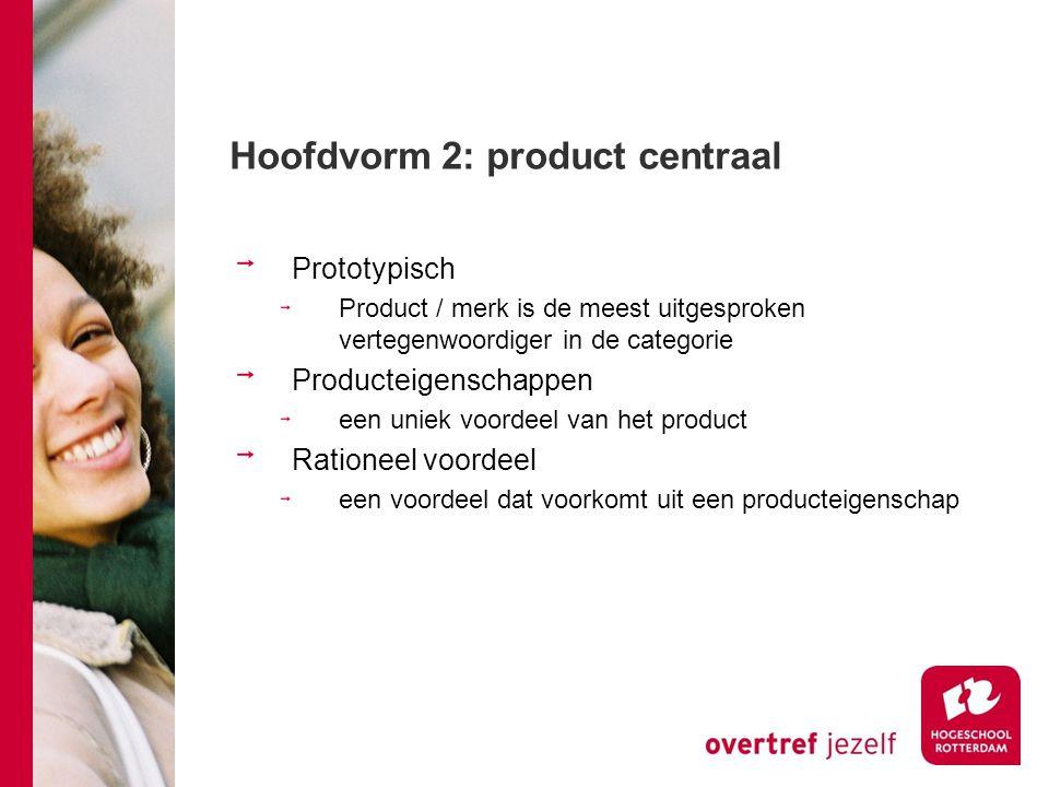 Hoofdvorm 2: product centraal Prototypisch Product / merk is de meest uitgesproken vertegenwoordiger in de categorie Producteigenschappen een uniek vo