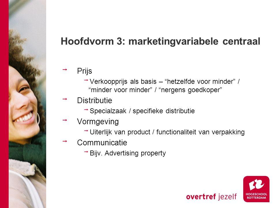 """Hoofdvorm 3: marketingvariabele centraal Prijs Verkoopprijs als basis – """"hetzelfde voor minder"""" / """"minder voor minder"""" / """"nergens goedkoper"""" Distribut"""