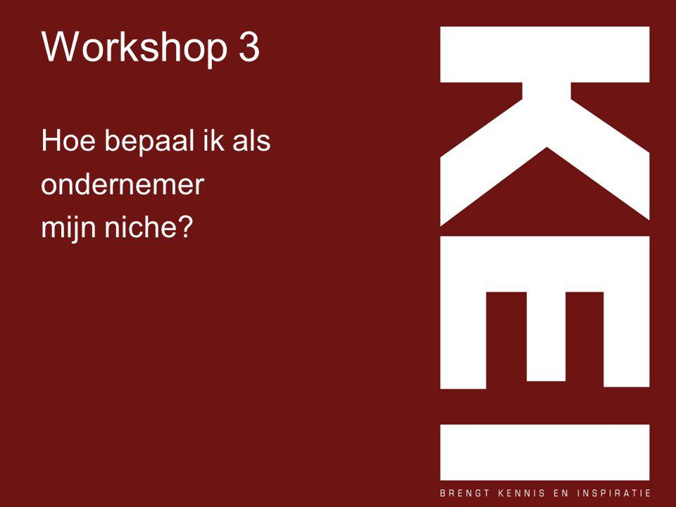 Workshop 3 Hoe bepaal ik als ondernemer mijn niche?