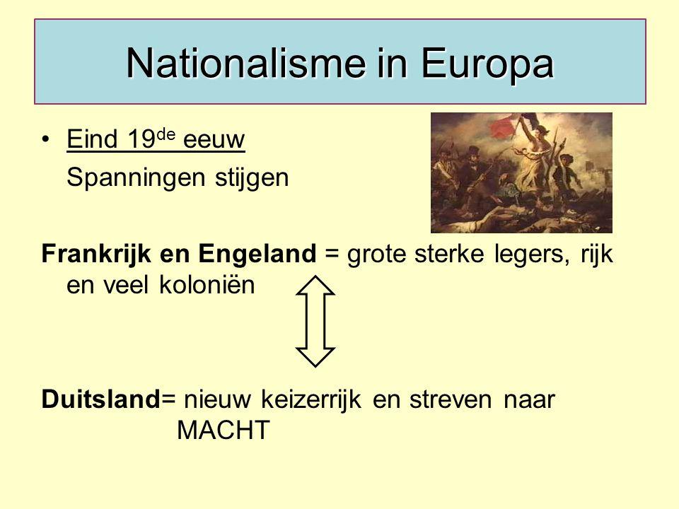 Nationalisme in Europa Eind 19 de eeuw Spanningen stijgen Frankrijk en Engeland = grote sterke legers, rijk en veel koloniën Duitsland= nieuw keizerrijk en streven naar MACHT