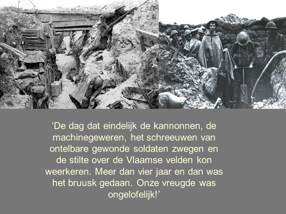 'De dag dat eindelijk de kannonnen, de machinegeweren, het schreeuwen van ontelbare gewonde soldaten zwegen en de stilte over de Vlaamse velden kon weerkeren.