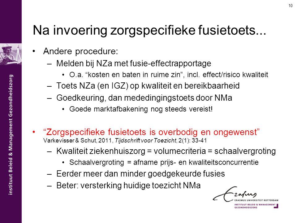 """Na invoering zorgspecifieke fusietoets... Andere procedure: –Melden bij NZa met fusie-effectrapportage O.a. """"kosten en baten in ruime zin"""", incl. effe"""