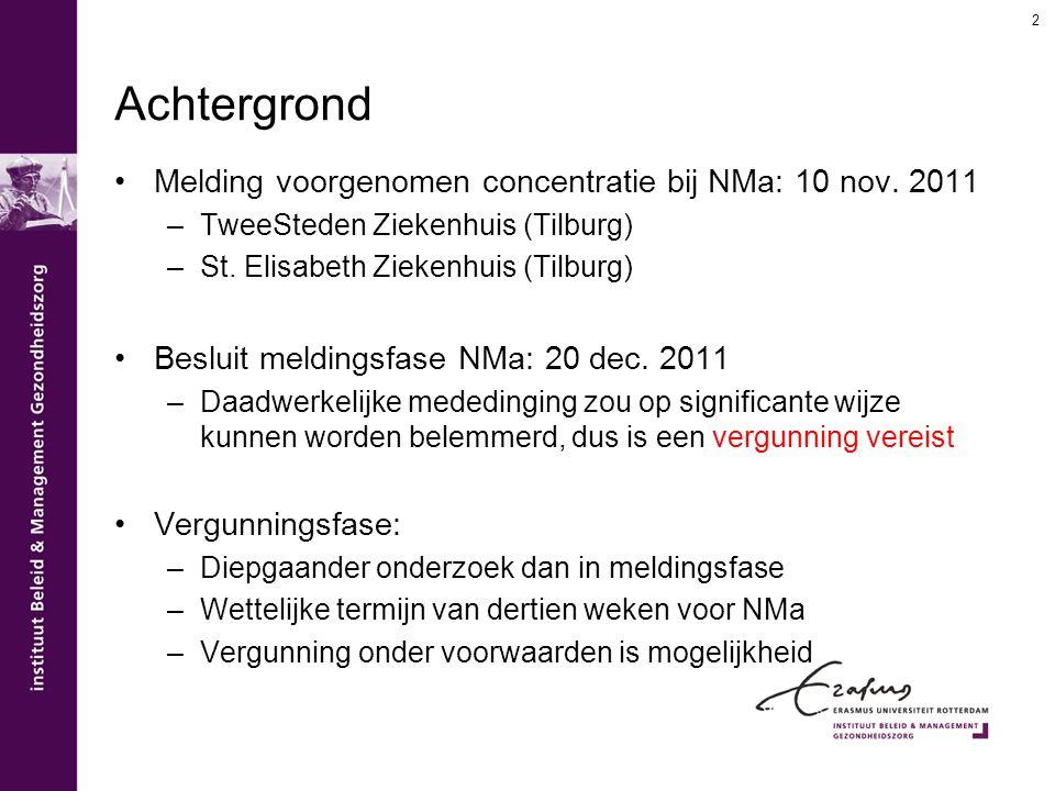 2 Achtergrond Melding voorgenomen concentratie bij NMa: 10 nov. 2011 –TweeSteden Ziekenhuis (Tilburg) –St. Elisabeth Ziekenhuis (Tilburg) Besluit meld