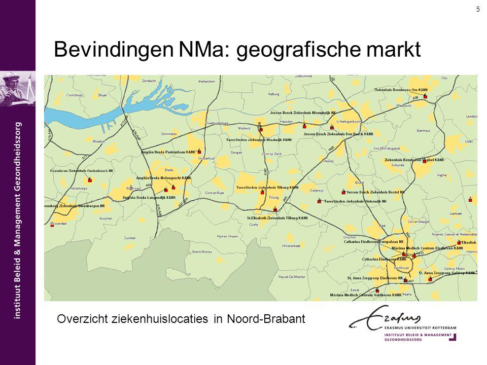 Bevindingen NMa: geografische markt 5 Overzicht ziekenhuislocaties in Noord-Brabant