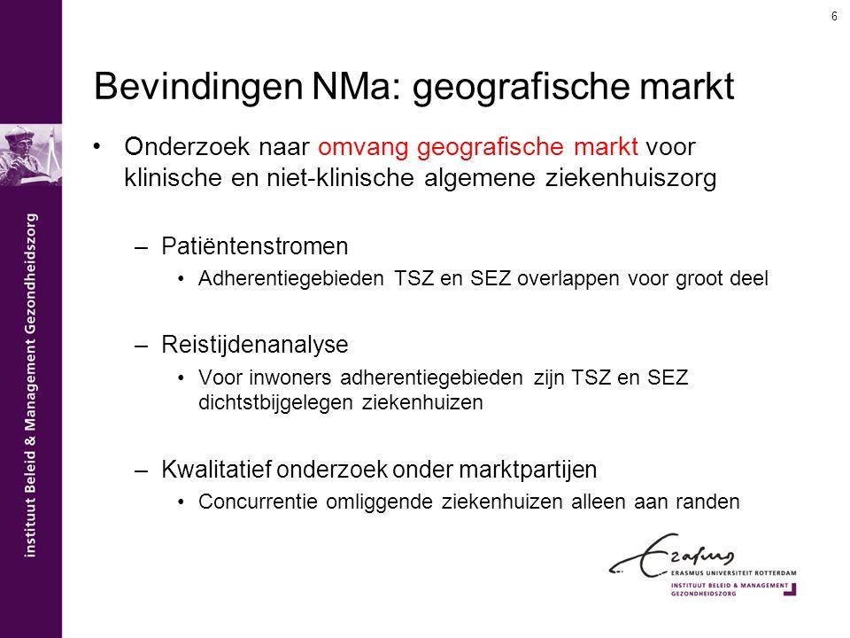 Bevindingen NMa: geografische markt Onderzoek naar omvang geografische markt voor klinische en niet-klinische algemene ziekenhuiszorg –Patiëntenstrome