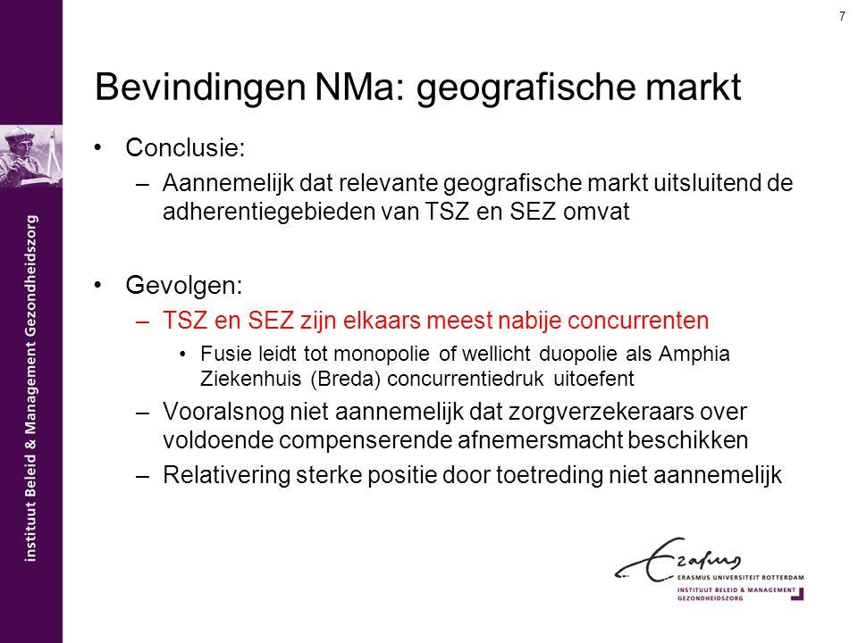 Bevindingen NMa: geografische markt Conclusie: –Aannemelijk dat relevante geografische markt uitsluitend de adherentiegebieden van TSZ en SEZ omvat Ge
