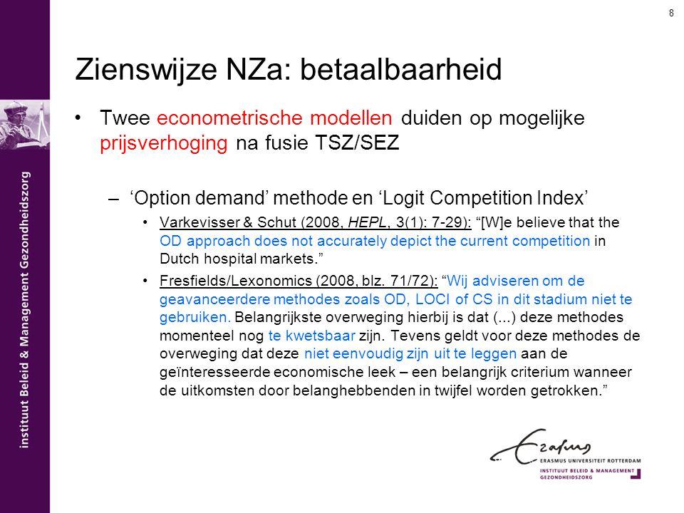 Zienswijze NZa: betaalbaarheid Twee econometrische modellen duiden op mogelijke prijsverhoging na fusie TSZ/SEZ –'Option demand' methode en 'Logit Com