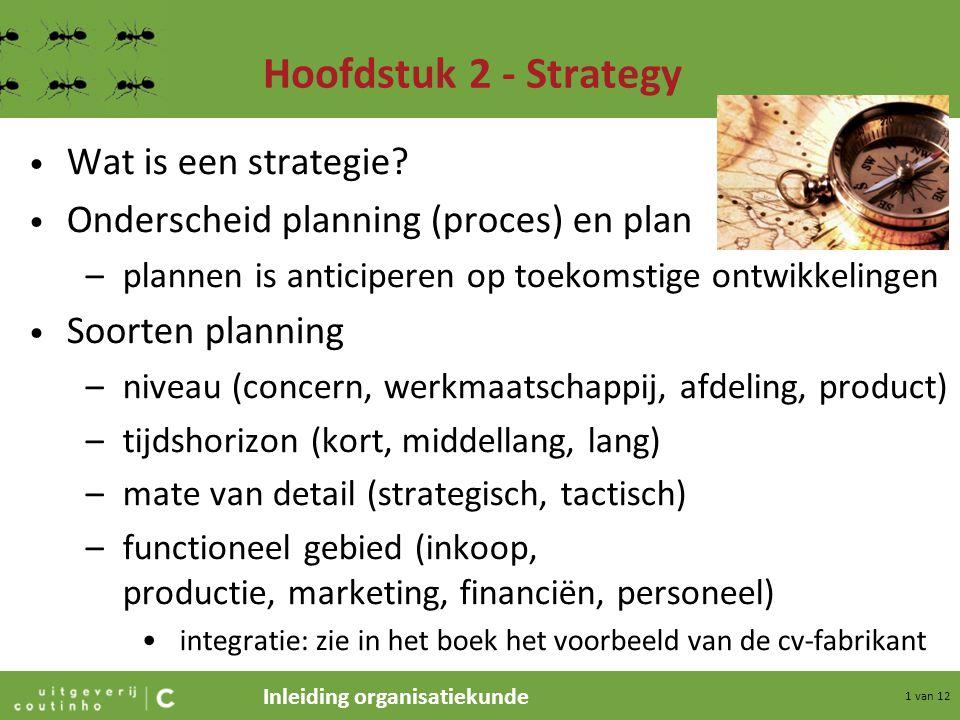 Inleiding organisatiekunde 2 van 12 Hoofdstuk 2 - Strategy Fasen in het strategisch ondernemingsplan –onderzoek situatieanalyse: verzamelen van gegevens, zoals –marktomvang –concurrentie –marketingbeleid –BCG-positie –businessdefinition + scope (start SWOT-analyse) »Wie (welke segmenten) »Wat (welke behoeften) »Hoe (welke producten)
