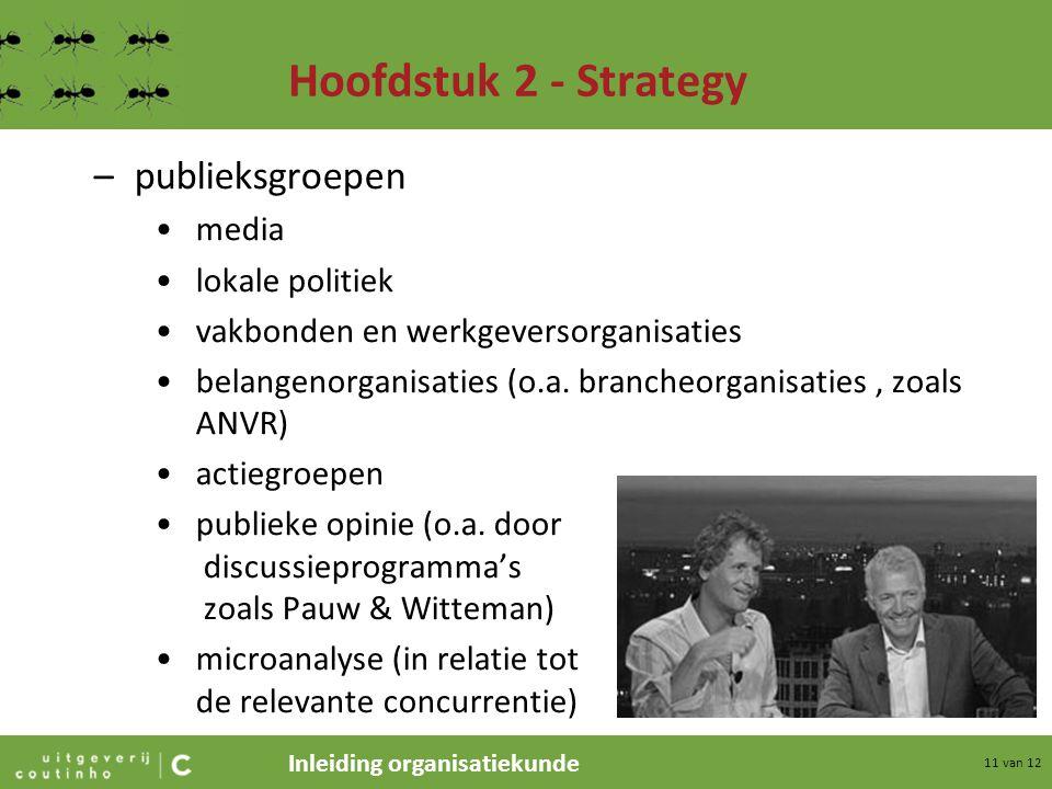 Inleiding organisatiekunde 11 van 12 Hoofdstuk 2 - Strategy –publieksgroepen media lokale politiek vakbonden en werkgeversorganisaties belangenorganis