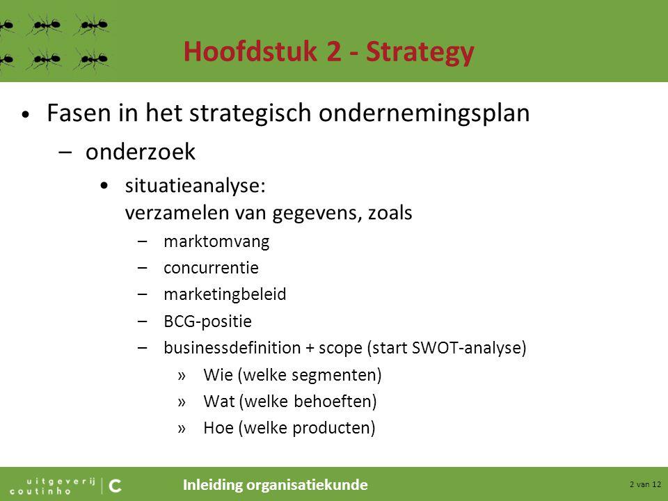 Inleiding organisatiekunde 2 van 12 Hoofdstuk 2 - Strategy Fasen in het strategisch ondernemingsplan –onderzoek situatieanalyse: verzamelen van gegeve