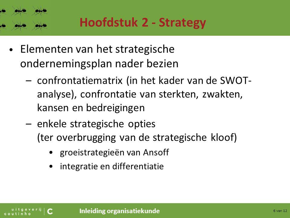 Inleiding organisatiekunde 6 van 12 Hoofdstuk 2 - Strategy Elementen van het strategische ondernemingsplan nader bezien –confrontatiematrix (in het ka