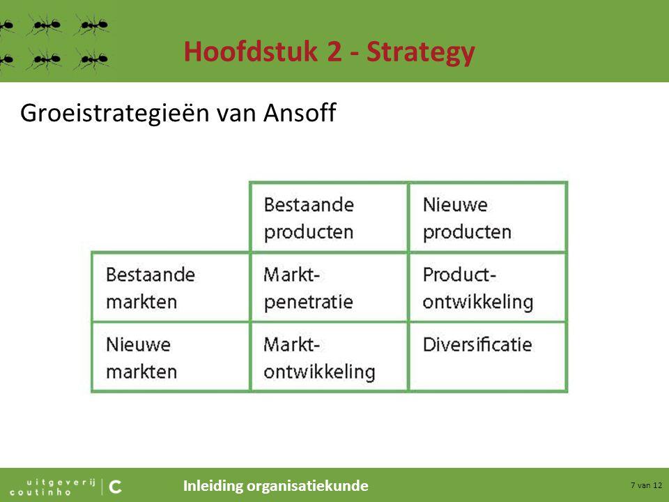 Inleiding organisatiekunde 7 van 12 Hoofdstuk 2 - Strategy Groeistrategieën van Ansoff