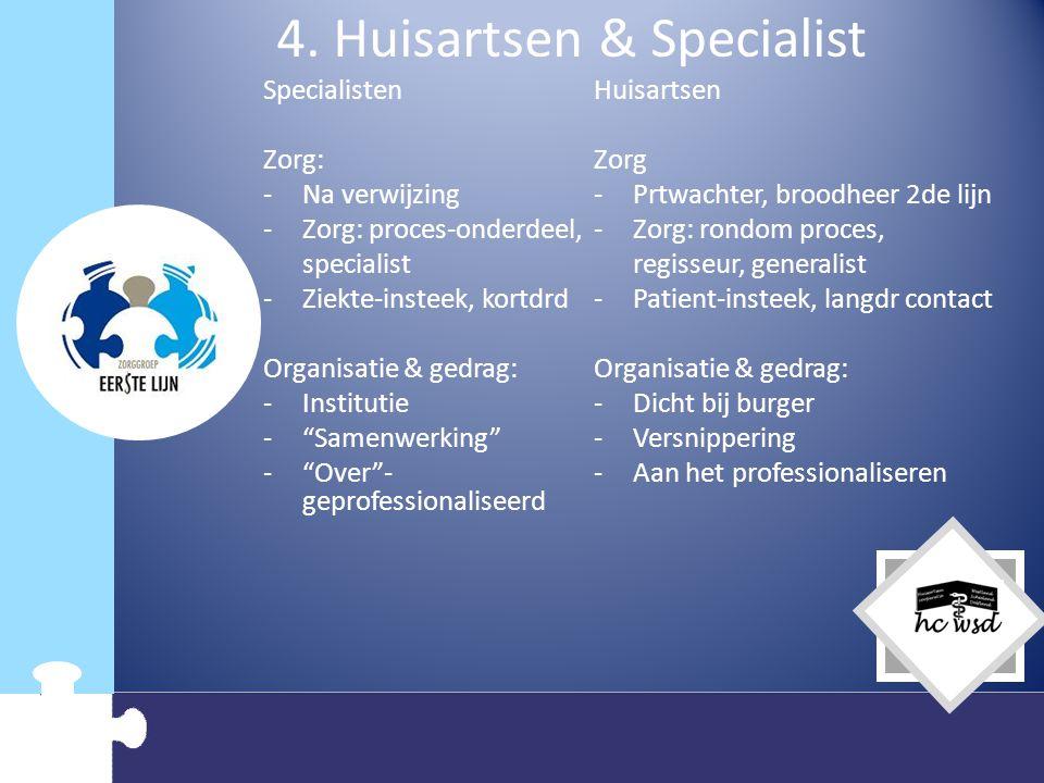 4. Huisartsen & Specialist Specialisten Zorg: -Na verwijzing -Zorg: proces-onderdeel, specialist -Ziekte-insteek, kortdrd Organisatie & gedrag: -Insti