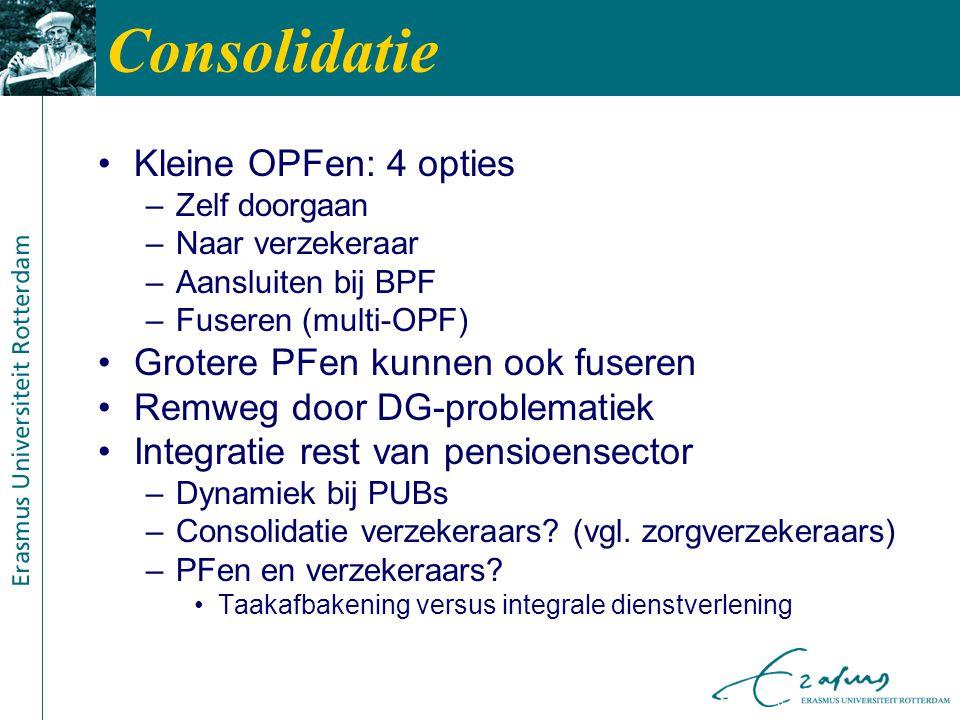 Consolidatie Kleine OPFen: 4 opties –Zelf doorgaan –Naar verzekeraar –Aansluiten bij BPF –Fuseren (multi-OPF) Grotere PFen kunnen ook fuseren Remweg door DG-problematiek Integratie rest van pensioensector –Dynamiek bij PUBs –Consolidatie verzekeraars.