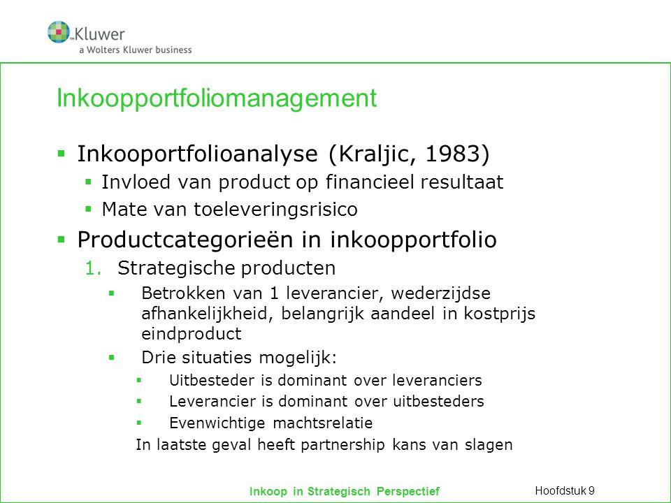 Inkoop in Strategisch Perspectief Inkoopportfoliomanagement  Inkooportfolioanalyse (Kraljic, 1983)  Invloed van product op financieel resultaat  Ma