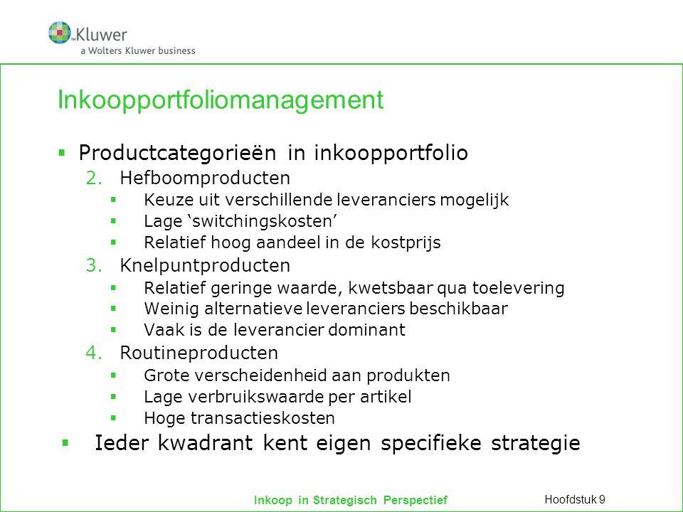 Inkoop in Strategisch Perspectief Inkoopportfoliomanagement  Productcategorieën in inkoopportfolio 2.Hefboomproducten  Keuze uit verschillende lever