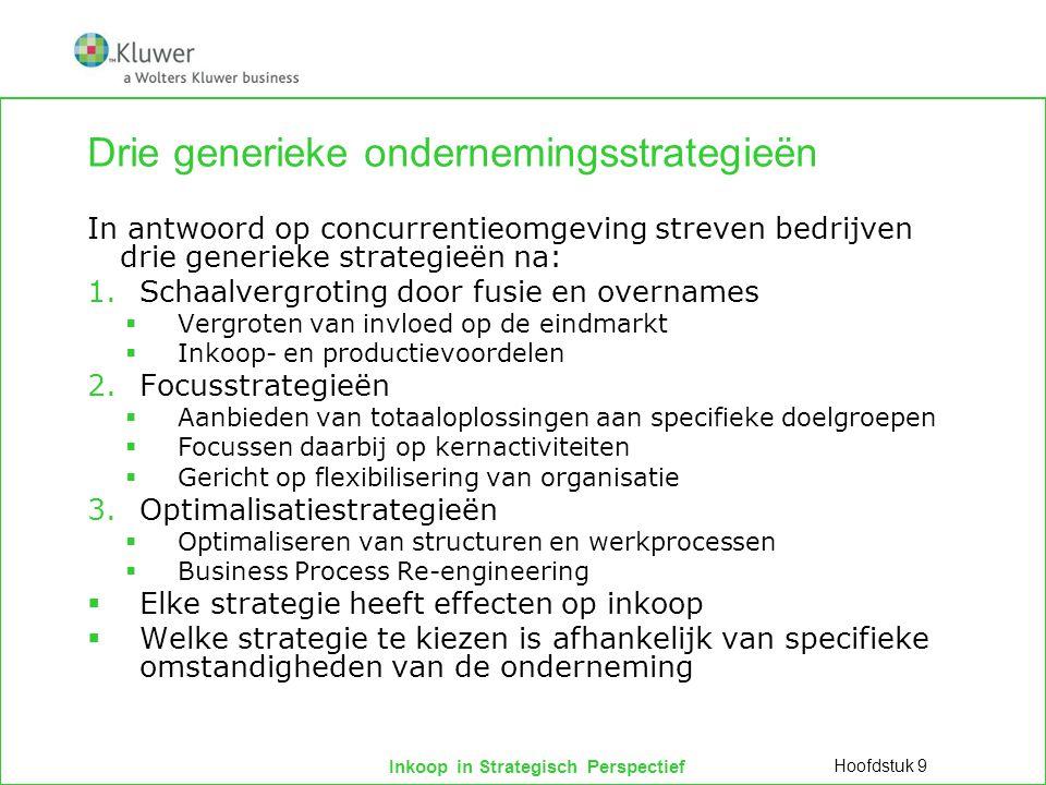 Inkoop in Strategisch Perspectief Drie generieke ondernemingsstrategieën In antwoord op concurrentieomgeving streven bedrijven drie generieke strategi