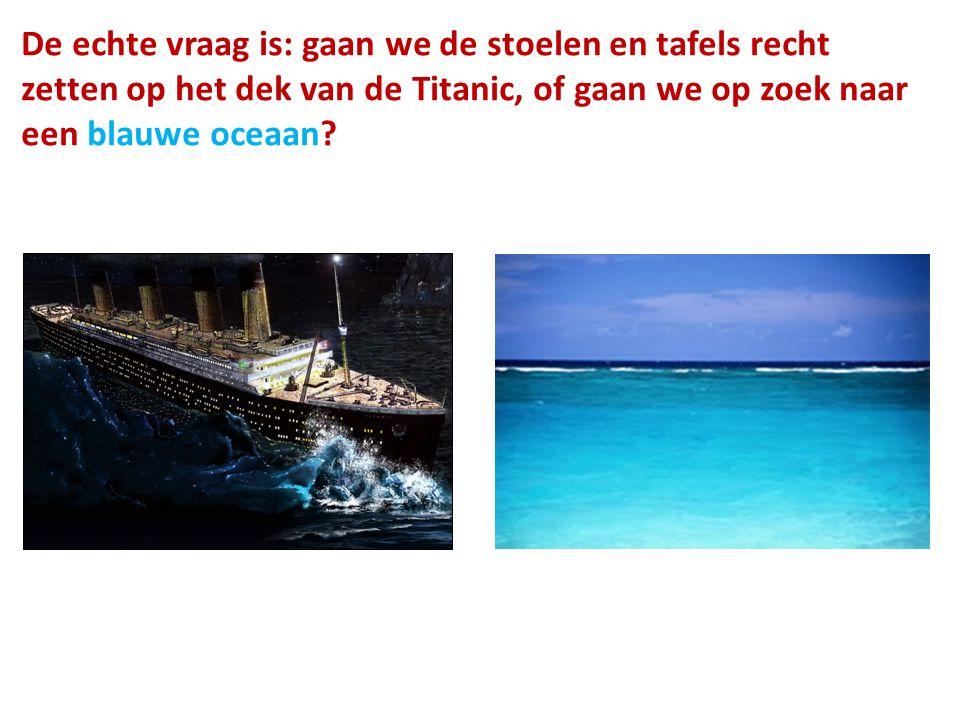 De echte vraag is: gaan we de stoelen en tafels recht zetten op het dek van de Titanic, of gaan we op zoek naar een blauwe oceaan?