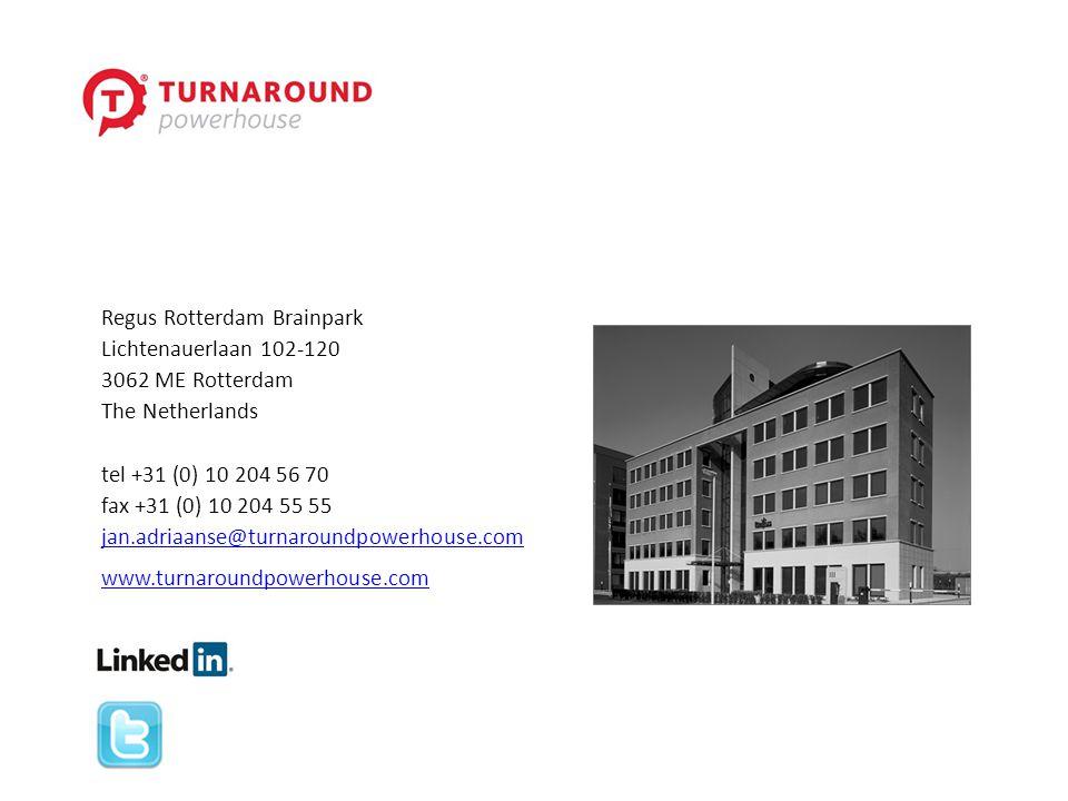 Regus Rotterdam Brainpark Lichtenauerlaan 102-120 3062 ME Rotterdam The Netherlands tel +31 (0) 10 204 56 70 fax +31 (0) 10 204 55 55 jan.adriaanse@tu