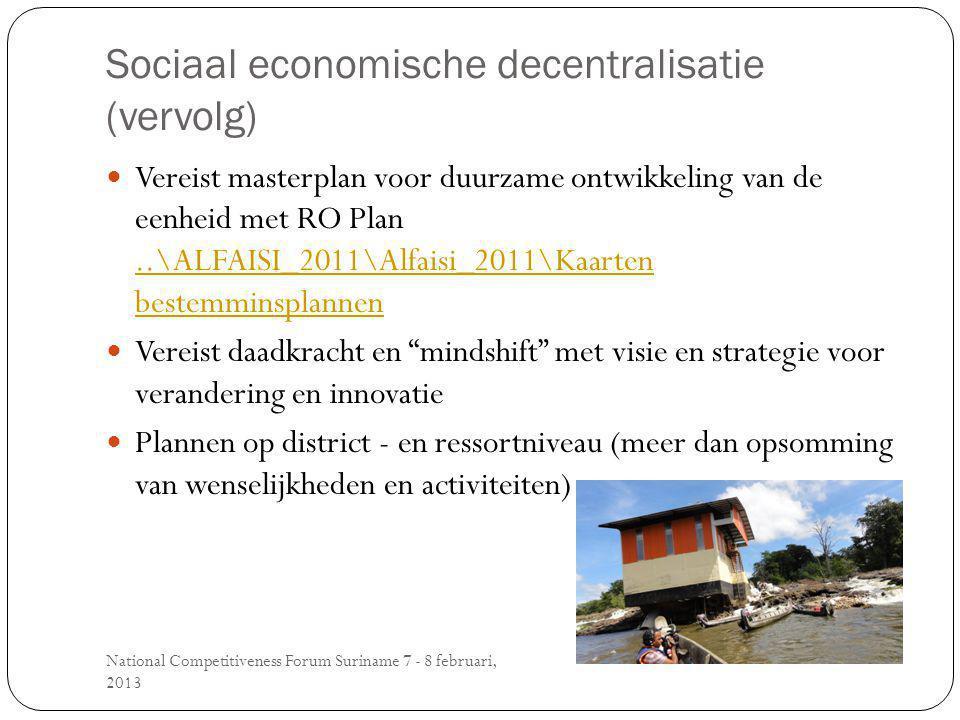 Sociaal economische decentralisatie (vervolg) National Competitiveness Forum Suriname 7 - 8 februari, 2013 Vereist masterplan voor duurzame ontwikkeling van de eenheid met RO Plan..\ALFAISI_2011\Alfaisi_2011\Kaarten bestemminsplannen Vereist daadkracht en mindshift met visie en strategie voor verandering en innovatie Plannen op district - en ressortniveau (meer dan opsomming van wenselijkheden en activiteiten)