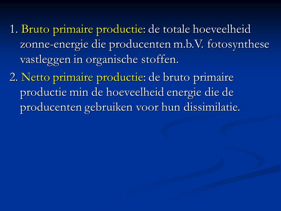 1. Bruto primaire productie: de totale hoeveelheid zonne-energie die producenten m.b.V. fotosynthese vastleggen in organische stoffen. 2. Netto primai