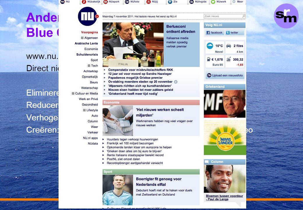 """Andere voorbeelden van Blue Ocean Strategie www.nu.nl: Direct nieuws Elimineren: papieren krant, abonnement Reduceren: """"editorials"""", lengte van artike"""