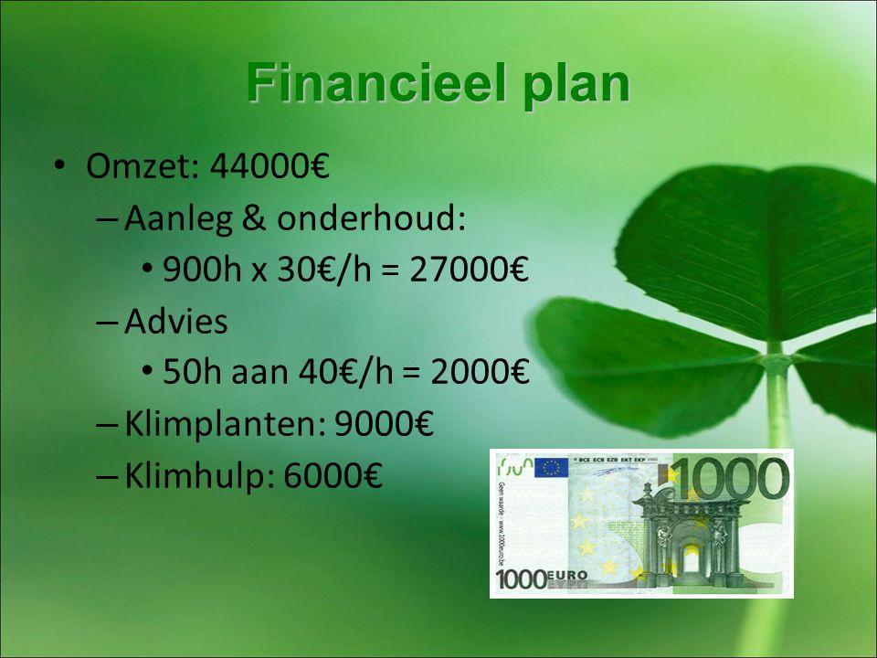 Financieel plan Omzet: 44000€ – Aanleg & onderhoud: 900h x 30€/h = 27000€ – Advies 50h aan 40€/h = 2000€ – Klimplanten: 9000€ – Klimhulp: 6000€
