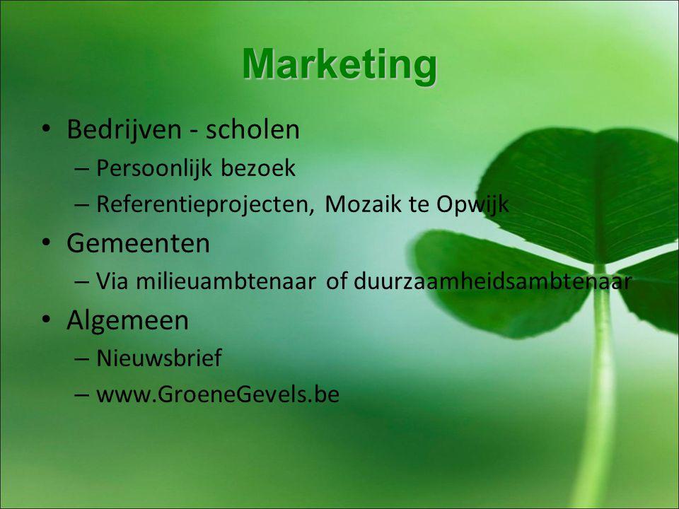 Marketing Bedrijven - scholen – Persoonlijk bezoek – Referentieprojecten, Mozaik te Opwijk Gemeenten – Via milieuambtenaar of duurzaamheidsambtenaar Algemeen – Nieuwsbrief – www.GroeneGevels.be