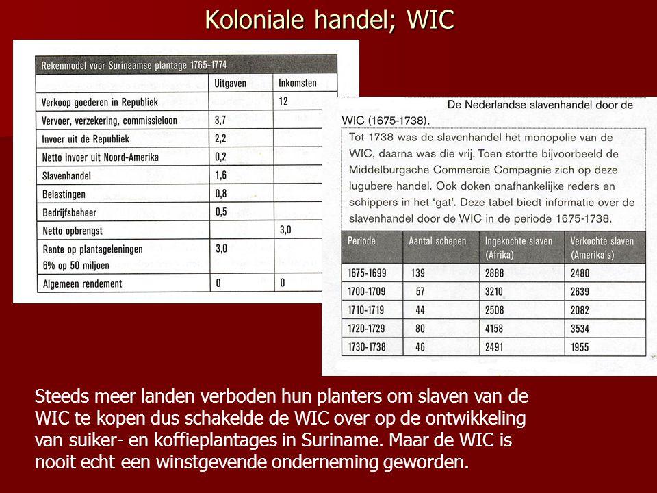 Koloniale handel; WIC Steeds meer landen verboden hun planters om slaven van de WIC te kopen dus schakelde de WIC over op de ontwikkeling van suiker-